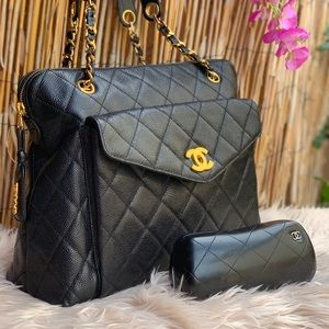 Channel Quiled CC chain Shoulder Caviar tote bag